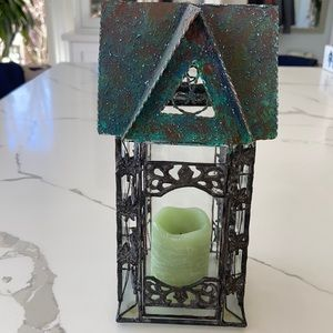 Vintage House Candle Holder with wax candle